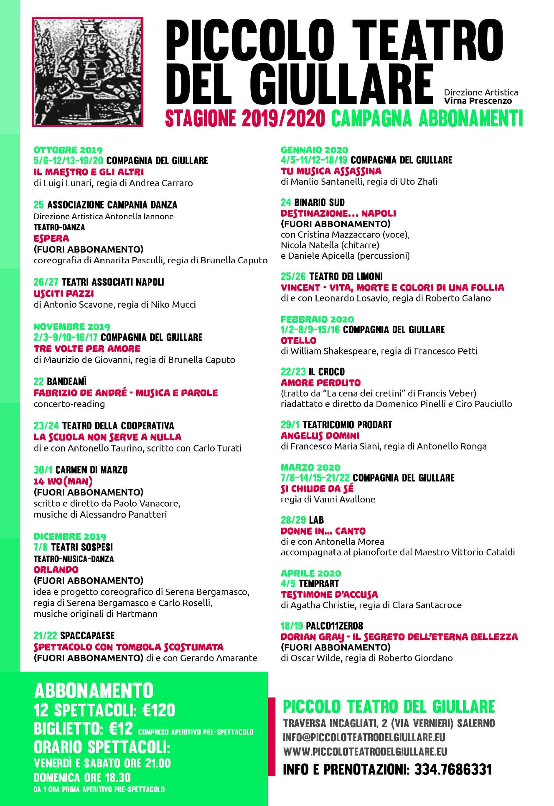 Stagione 2019-2020 - Piccolo Teatro del Giullare di Salerno